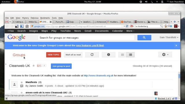 Google Groups interface
